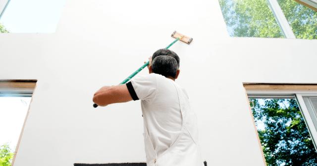 Man doing drywall repairs