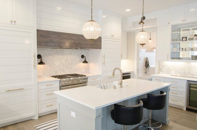 Remodeled kitchen with new lighting fixtures