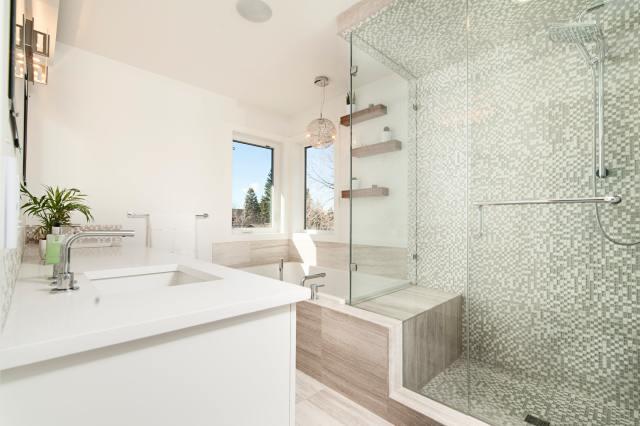 Clean bathroom with new floors